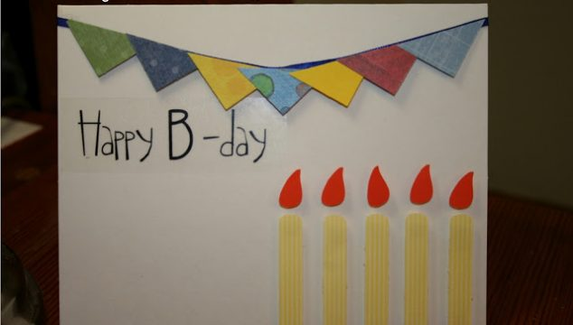 Pennant and Candles Birthday Card