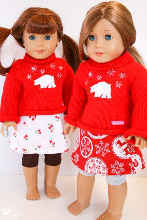 Free Doll Clothes sewing pattern to make an adorable reversible wrap skirt for you American Girl or 18