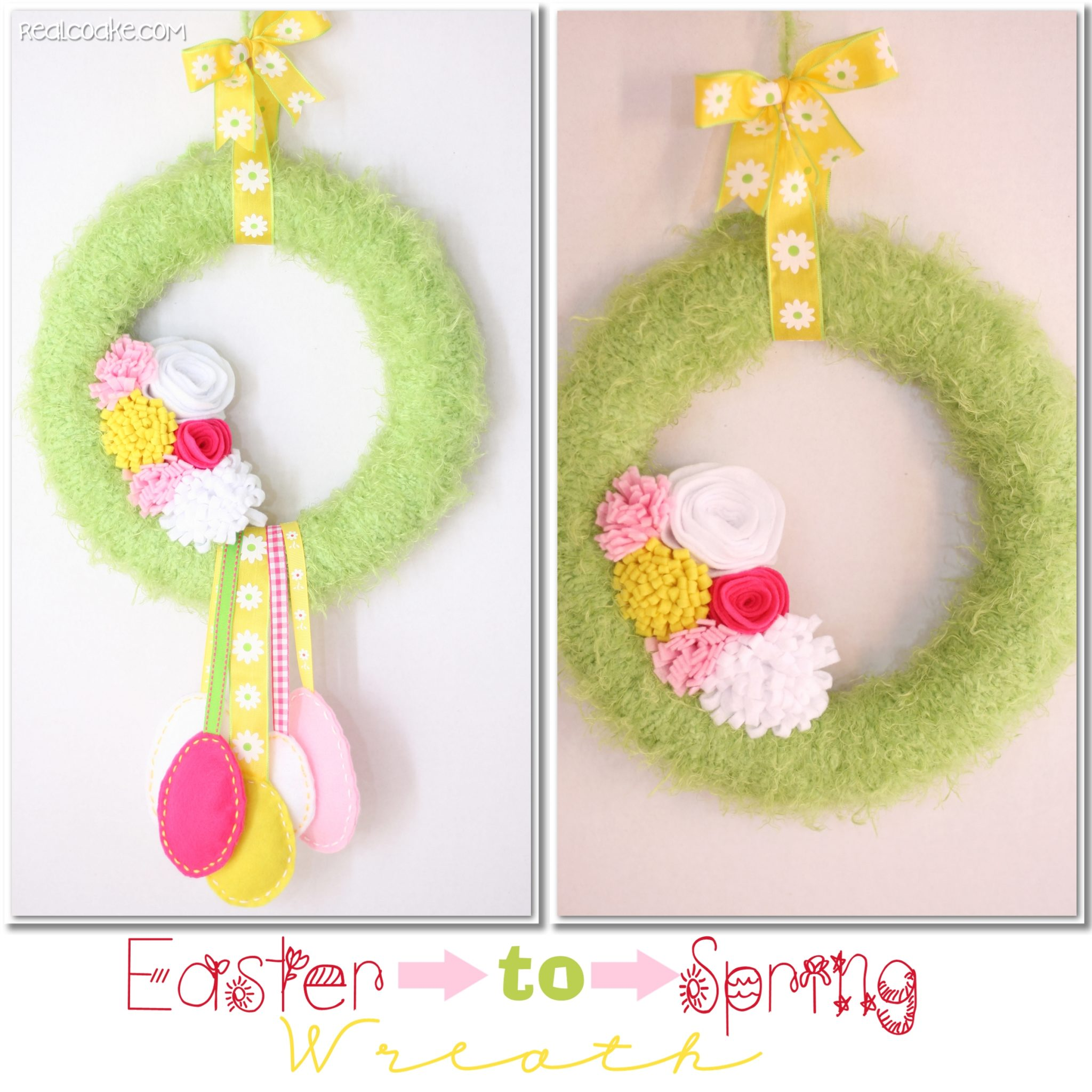 DIY wreath that is easy to change from Easter to spring yarn wrapped wreath #Easter #decorating #wreath
