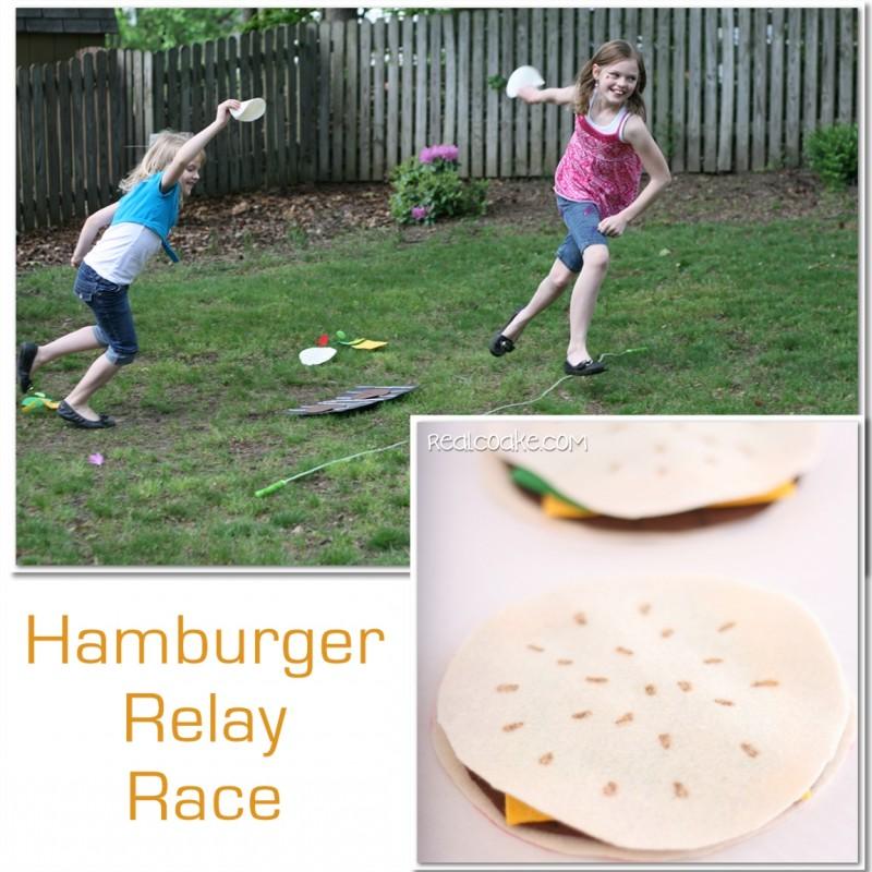 Activities for the family ~ a fun Memorial Day Hamburger Relay race. #SummerFun #FamilyFun #FamilyGames #RealCoake