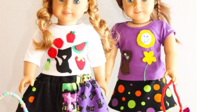 Free American Girl Doll clothes pattern to make two different doll skirts. These will make the perfect sewing and outfits for the dolls this Halloween!