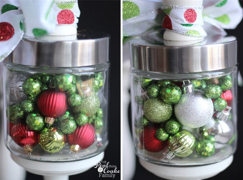 Idea using apothecary jars filled with Christmas items as part of your Christmas decorations from #RealCoake #ApothecaryJars #ChristmasDecorations #Christmas