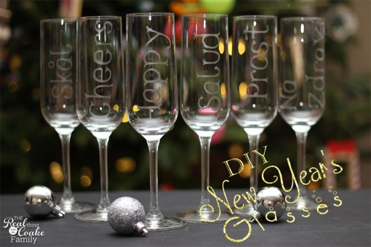 New Year's champagne glasses personalized with glass etching to toast in 6 different languages. Easy DIY for New Year's celebrating. #ChampagneGlasses #NewYears #DIY