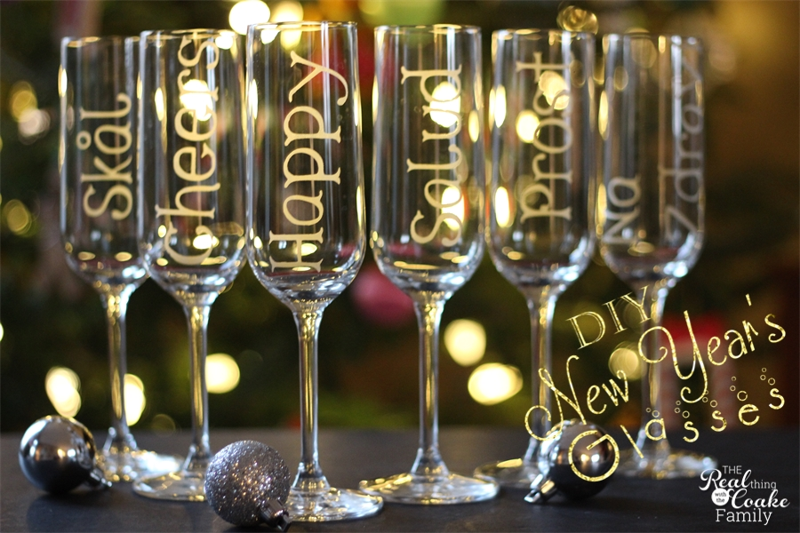 New Year's champagne glasses personalized with glass etching to toast in 6  different languages. Easy
