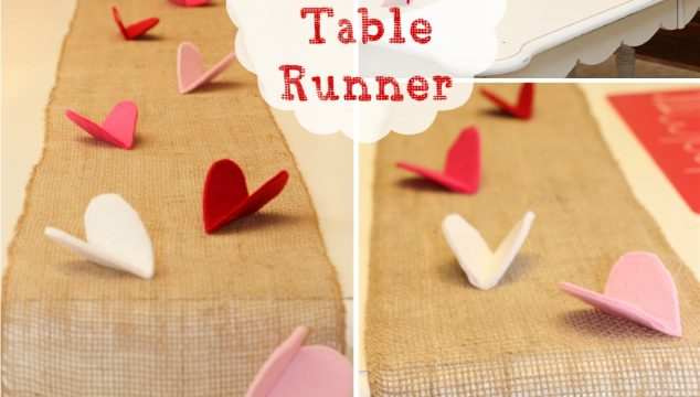 Valentine Felt and Burlap Table Runner