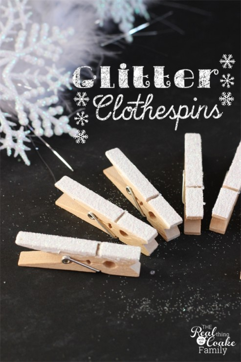 10 minute craft ideas to make cute glitter clothespins. #Crafts #Glitter #Clothespins