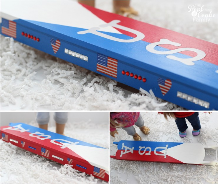 Winter Olympics crafts ~ Make an adorable American Girl Doll craft of a sled for the dolls own winter Olympics! #AmericanGirlDoll #WinterOlympics #Craft