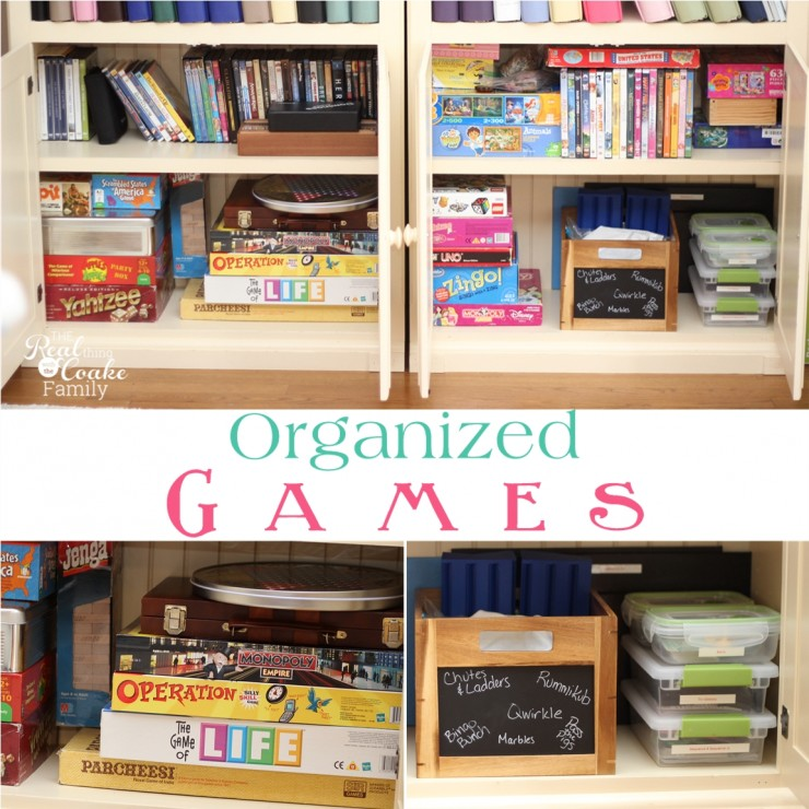 How to organize your games with tips and ideas for small spaces. #Organize #Organizing #Games