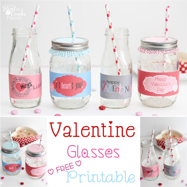 Valentine's Day Ideas to add a cute touch to the day. Free printable to cut out and wrap around glasses. #Valentines #Printable