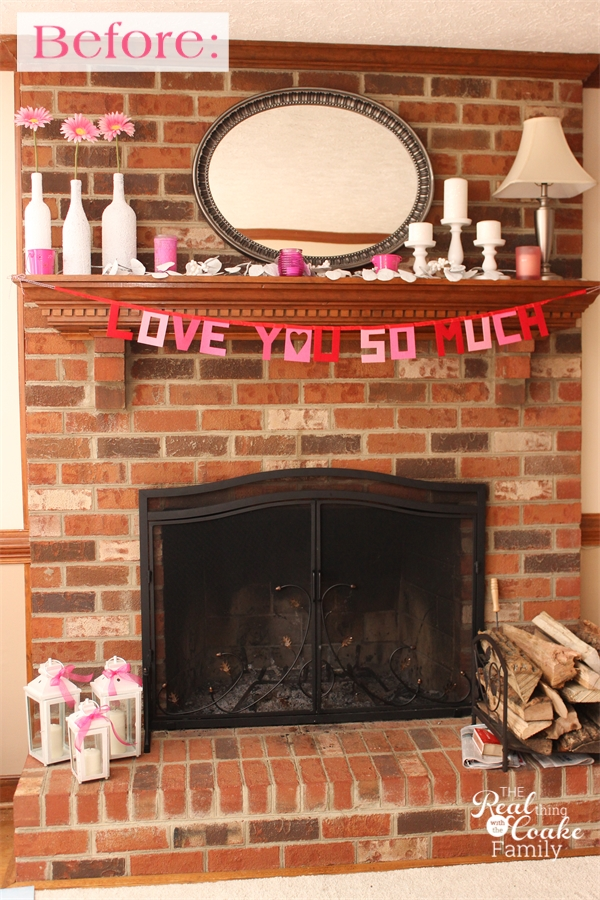 Exceptionally easy and dramatic fireplace makeover! If you have a brick fireplace you can have a modern look in just a few easy steps. #Fireplace #Makeover #Paint #Brick #RealCoake