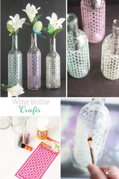 Wine Bottle Crafts Make Spring Vases