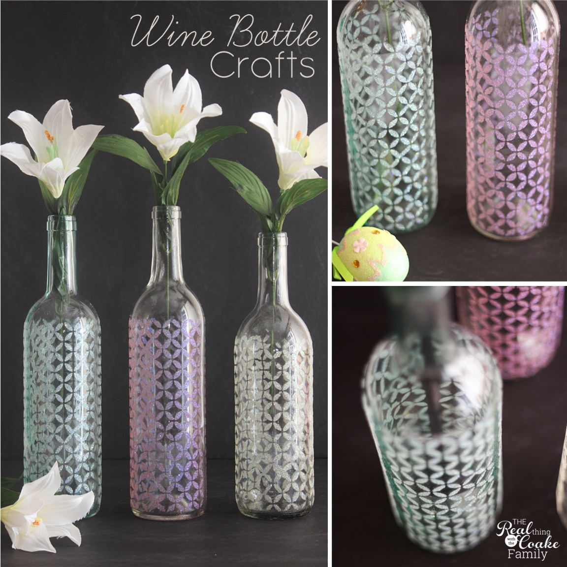 Wine bottle crafts are so fun. These are beautiful vases made with Mod Podge, stencils and glitter. #WineBottleCrafts #WineBottle #Crafts #ModPodge #Glitter #RealCoake