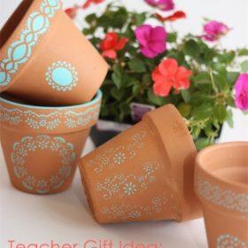 Teacher Gifts ~ Make Stenciled Pots