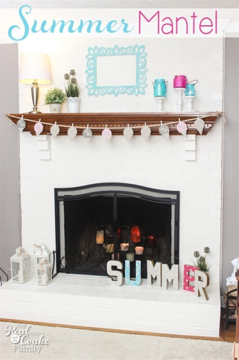 Decorating ideas for a simple and clean summer mantel with some fun touches and color. & Summer Mantel Decorating Ideas
