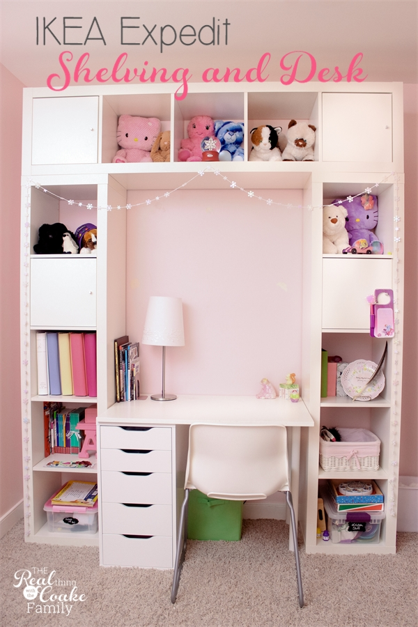 ikea expedit turned into a great shelving unit with desk. Black Bedroom Furniture Sets. Home Design Ideas