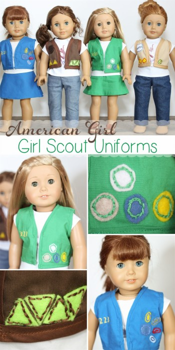 So stinking cute! American Girl Doll clothes pattern to make Girl Scout Uniforms for your dolls! #sewing #pattern #dolls #americangirldoll #girlscouts #realcoake