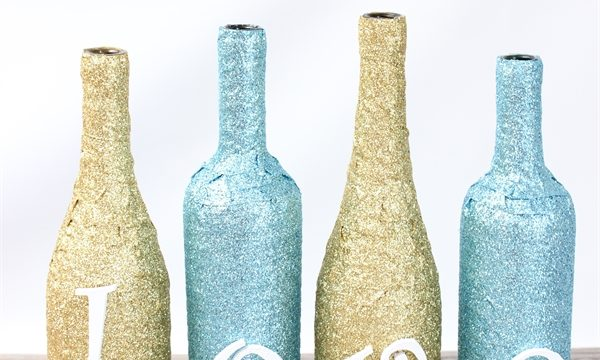A Fun Glittery Wine Bottle Craft