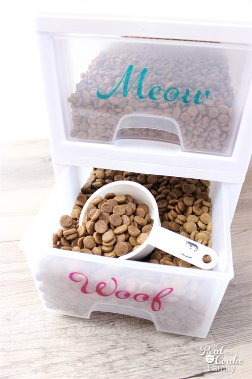 What a cute and genius idea for organizing Pet Food! This DIY works really well and helps save a ton of space in my home.