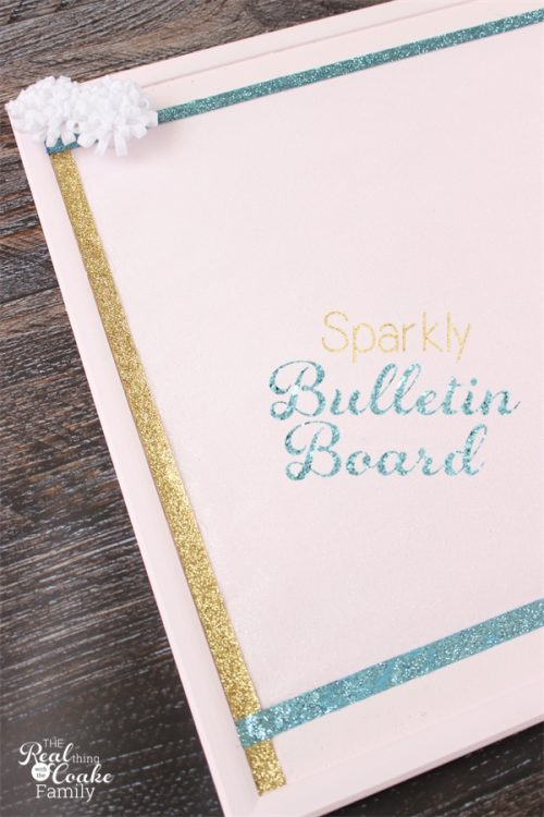 This bulletin board started as a plain brown bulletin board. Such a great diy to add sparkle and cuteness to a bulletin board.
