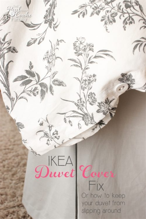 My IKEA duvet cover is always slipping around. This is such and easy diy fix that requires a tiny bit of easy sewing and only $4! Perfection!