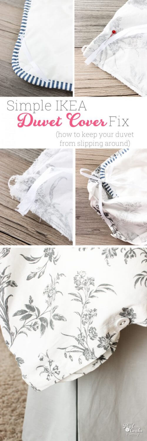 Collage of IKEA Duvet Cover and Inserts showing how to fix them slipping around