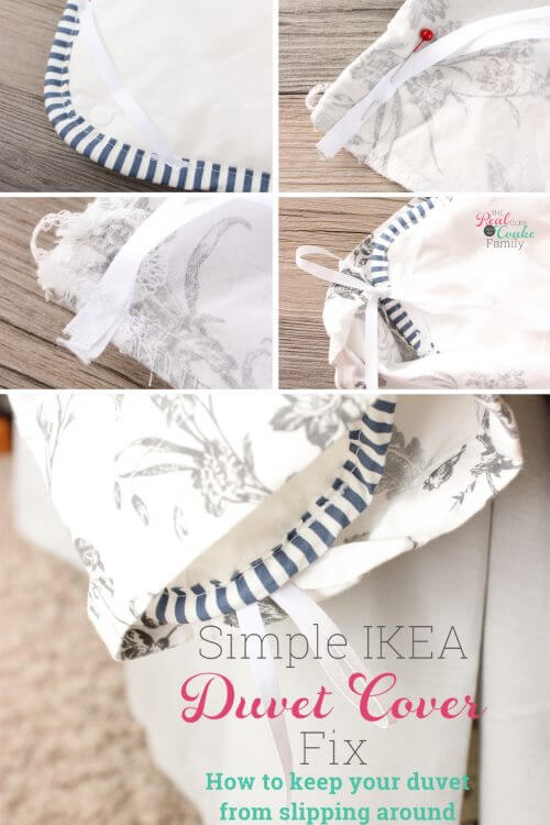 My IKEA duvet covers and inserts are always slipping around. This is such and easy diy duvet fix that requires a tiny bit of easy sewing and only $4! Perfection!