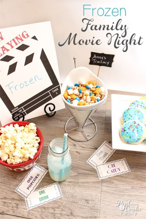 This family Frozen Movie Night has so many cute ideas for the kids and the adults, too. Even has a great idea for dinner. Looks quick, easy and fun!