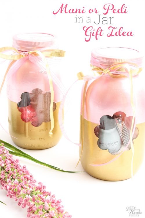 These will make great Mother's Day gifts or great gift ideas for teachers or just because. The Mason jars are so pretty and filled to create a Manicure or a Pedicure in a jar... our nails will love this gift idea.