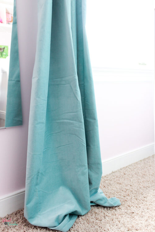 How to hem curtains to the right length in 15 minutes. Full tutorial that will work with IKEA curtains or any curtains and is easy.