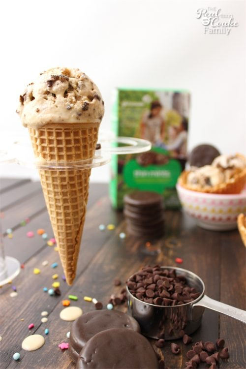 We love yummy desserts. Even better is spending time doing fun things with my kids. This delicious Thin Mint and Chocolate Chip Ice Cream Recipe is so yummy and fun to make with the kids.
