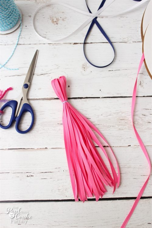 OMG! I need to make this adorable tassel photography backdrop. It is super simple to make and will be perfect for our Back to School pictures.