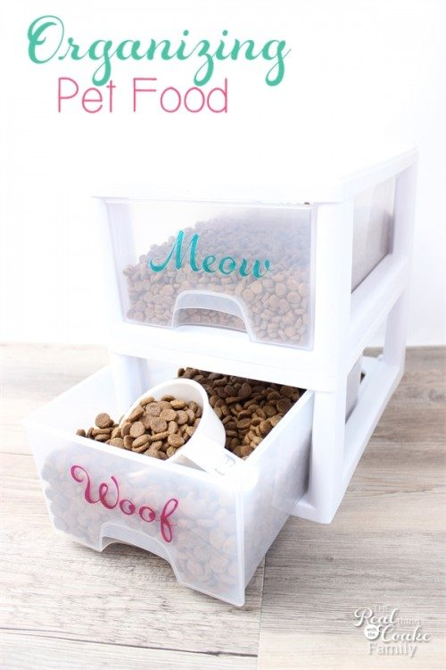 Love all of these great Pet Food storage ideas! We totally need help with organizing our pet food now that we have selected a simple, natural food.