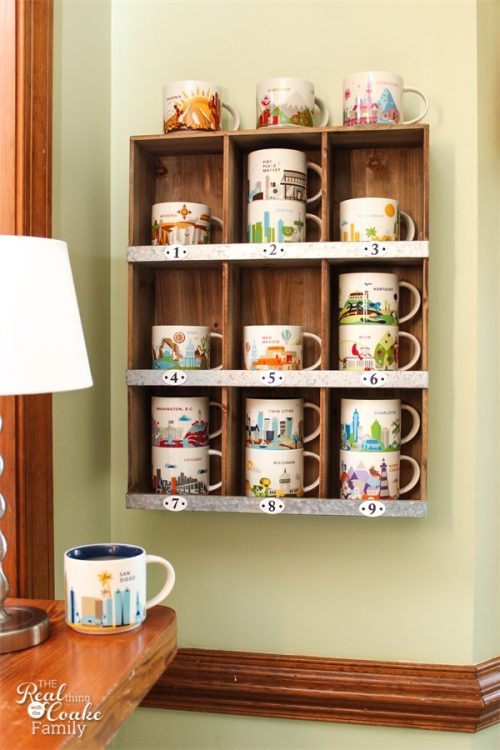 Cute, stylish and simple way to display a mug collection. Perfect for my Starbucks You are Here collection or any mug collection.