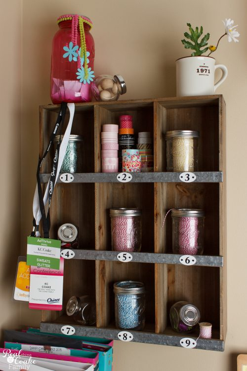 Great Organized Home Office - tons of organization ideas for a small space and organizing all those papers the family brings home to mom. Shows ideas for adding cuteness and personality. Love the printable labels and tags.