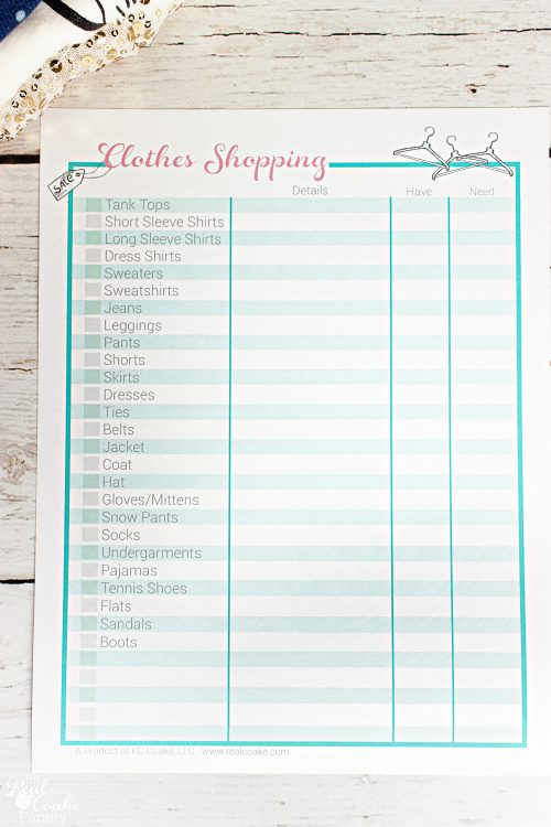 Love this super simple way for organizing the Kids Clothes Shopping each season. Great printable to help with organization and budget.