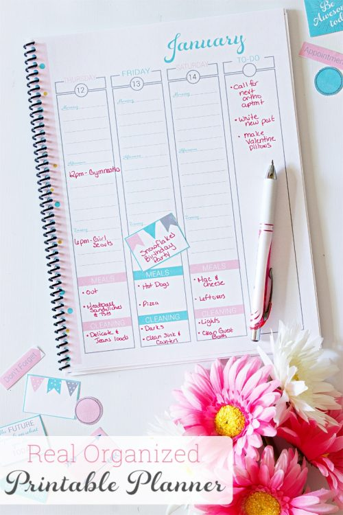 Perfect 2017 printable calendar! It is a simple monthly, weekly, and daily planner that has spots for keeping up with the whole family schedule, cleaning, bills, and meals. I love that it is cute and comes with fun stickers, too!