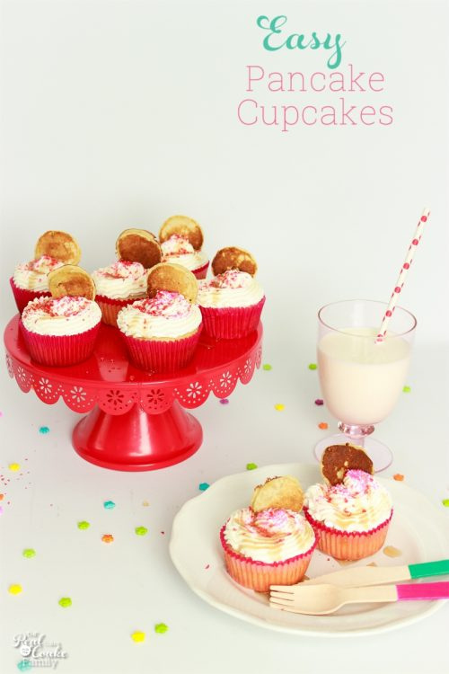 Such a fun and simple breakfast recipe! Make this easy pancake recipe and make homemade pancake cupcakes for kids (and grownups!). Perfect for our holiday breakfasts and sleepovers.
