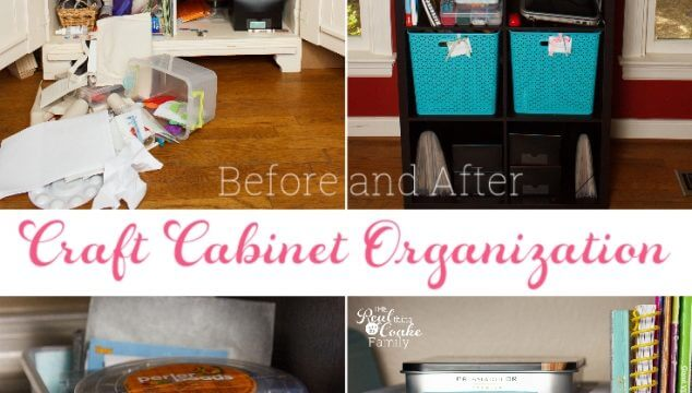 Great small space craft organization and storage ideas. DIY ideas for using a cabinet to store craft supplies for kids or adults.