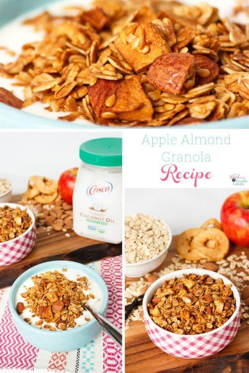 This easy homemade granola recipe is so delicious and healthy. It has Apples, Almonds, Honey, Oats, Flaxseed, Vanilla and Coconut Oil and takes only about 30 minutes start to finish. Yummy!