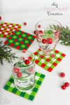 Great homemade gift ideas for Christmas! I can make these DIY Coasters as a fun hostess gift or we could even use them as fun crafts for the kids to make and then use them in our holiday decorations.