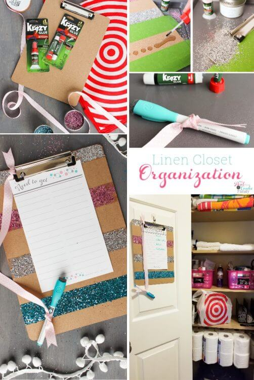 Great ideas for my small linen closet organization. Love the free organizational printables for and cute craft to use for being more organized.