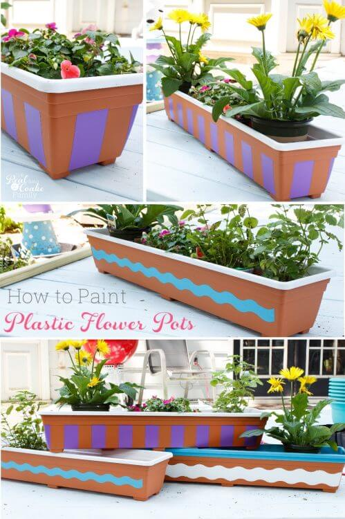 painting plastic flower pots add personality to your outdoor space