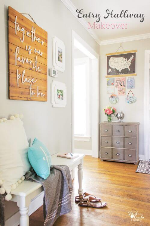 What a beautiful hallway decor! Great makeover reveal with tons of entryway ideas I can use to DIY my home decor to be beautiful and practical for daily use by my family.