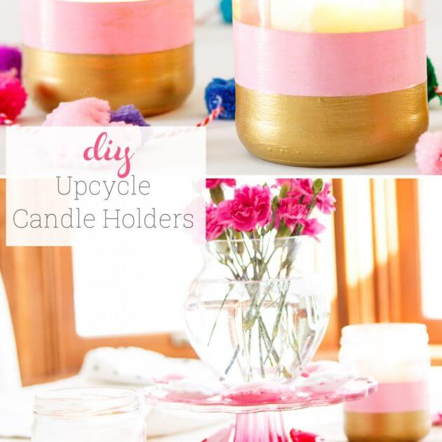 How to make DIY Candle Holders from Salsa Jars