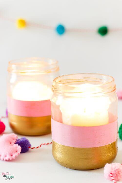 Make these DIY Candle holders. They upcycle salsa jars and are an easy craft idea to match your color theme or holiday decorations.
