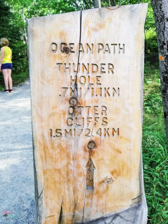 Ocean Path Trail Marker at Acadia National Park