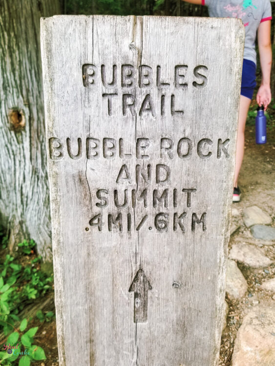 sign post showing Bubbles Trail at Acadia National Park