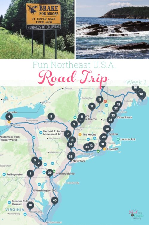 picture from New Hampshire and Maine with northeast road trip map