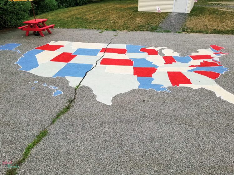 Map of Unites States painted on the ground