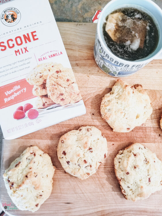 King Arthur Flour Scone Mix and fresh made scones with tea